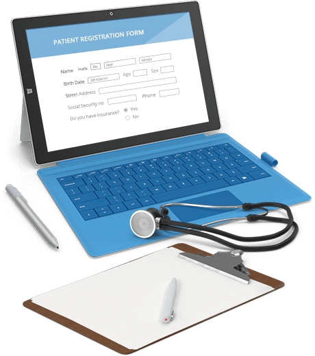 HIPAA compliant form from 123ContactForm on a computer screen