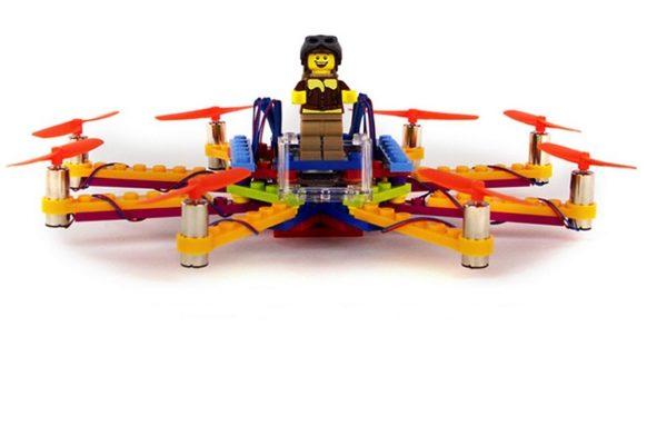 Lego drone built using Flybrix kit