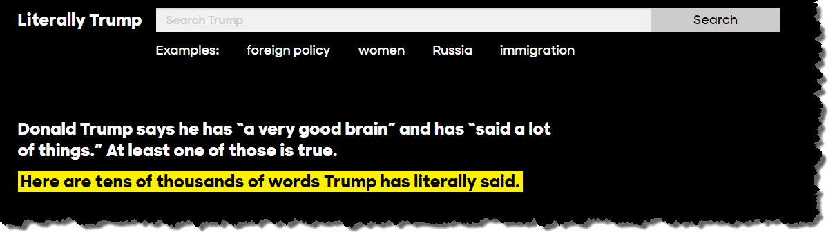 Literally Trump fact-checking feed on Hillary Clinton's website