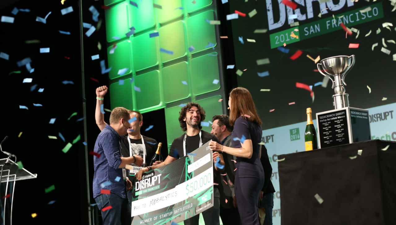 Mobalytics founders on stage at TechCrunch Disrupt