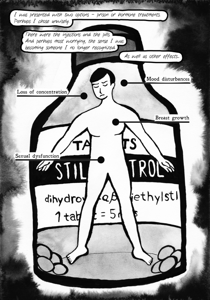 drawing about Alan Turing's chemical castration