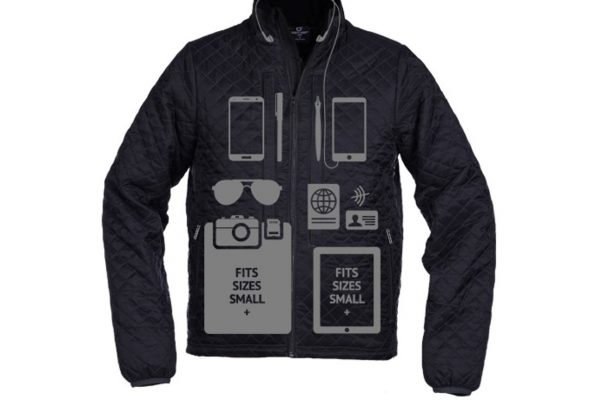 SCOTTeVEST jacket showing a diagram of its many electronics pockets and what can be stored there