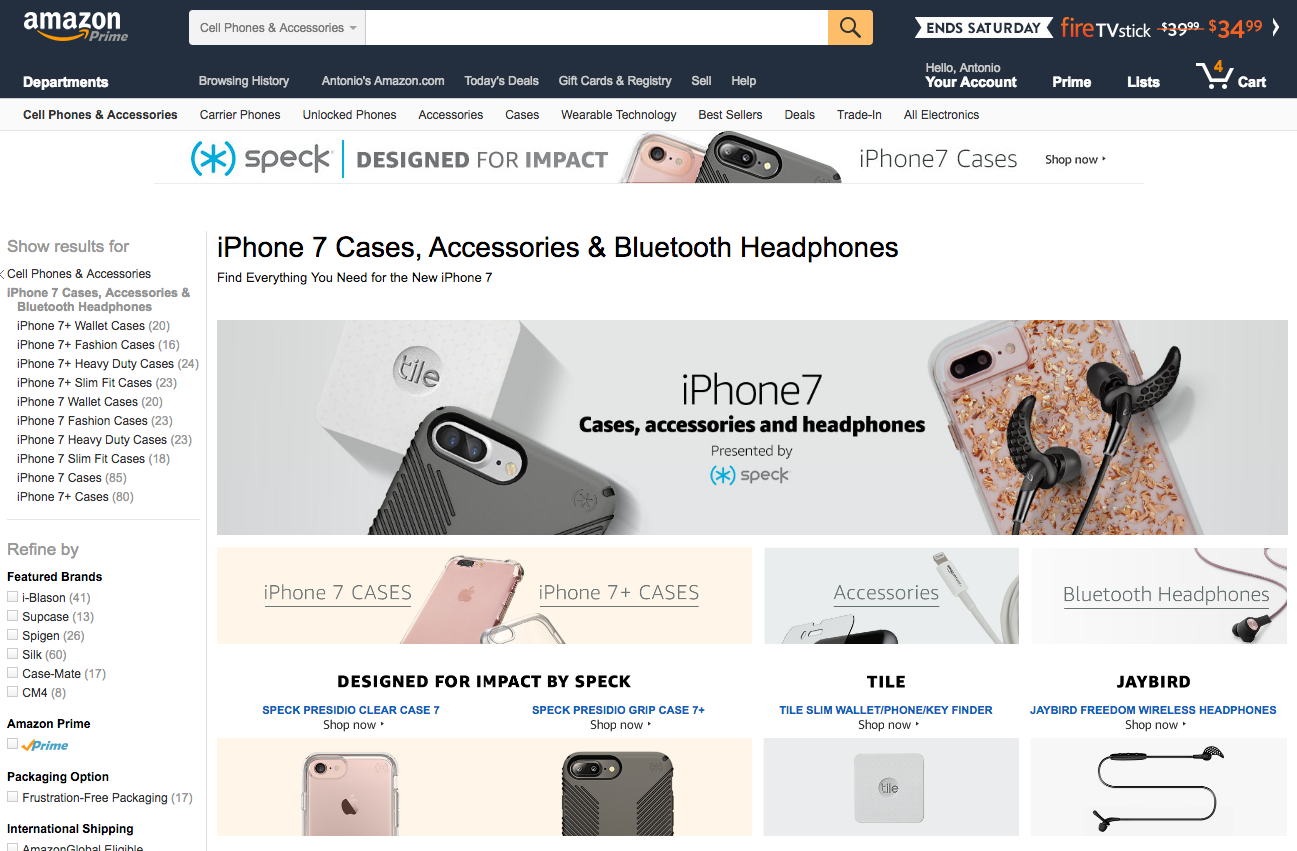 Amazon cellphone landing page with iPhone 7 information