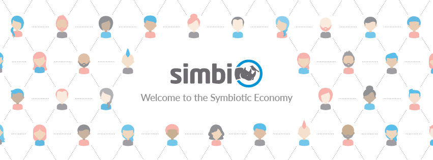 Simbi barter marketplace logo and tagline, Welcome to the Symbiotic Economy