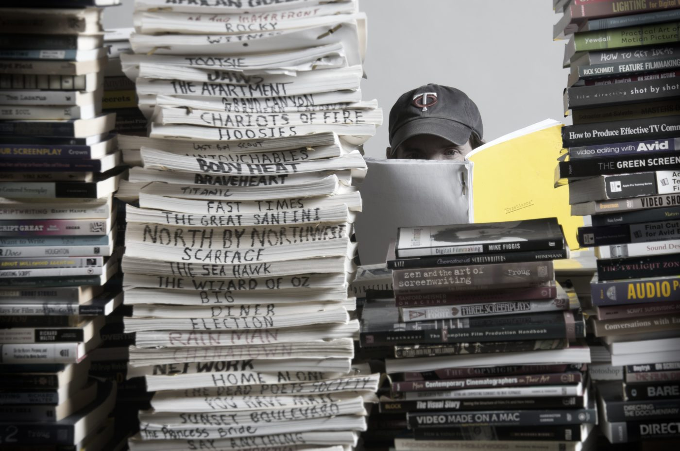 a huge pile of movie scripts to be read via artificial intelligence