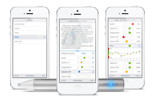 recordings of vitamin levels on Vitastiq app