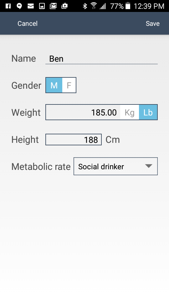 WearSmith breathalyzer stats on the companion app