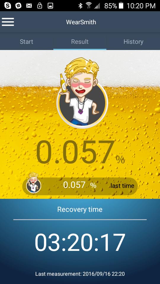 WearSmith breathalyzer results when the user is drunk