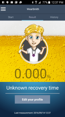wearsmith breathalyzer app screenshot results sober
