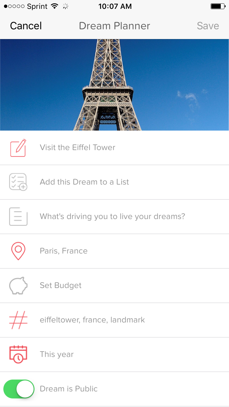 planning for the bucket list dream of visiting the Eiffel Tower on BUCKiTDREAM