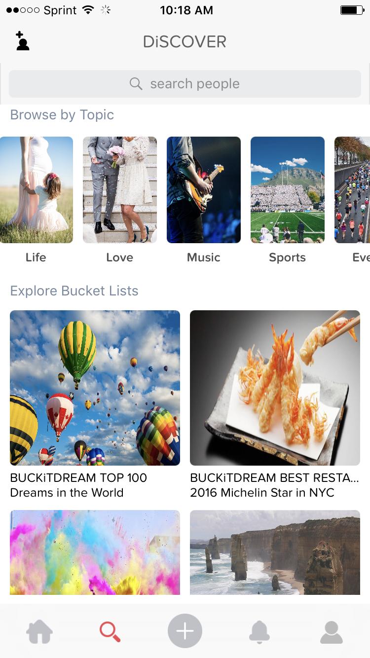 curated bucket list ideas on the BUCKiTDREAM app