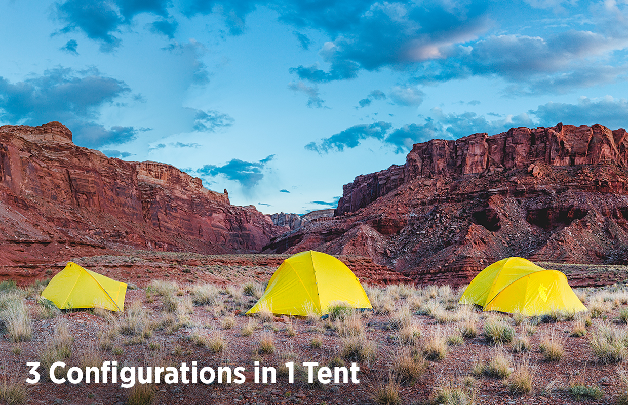 Inti tent in three different configurations