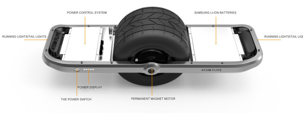 features of the ATOM FLIYE hoverboard/electric skateboard