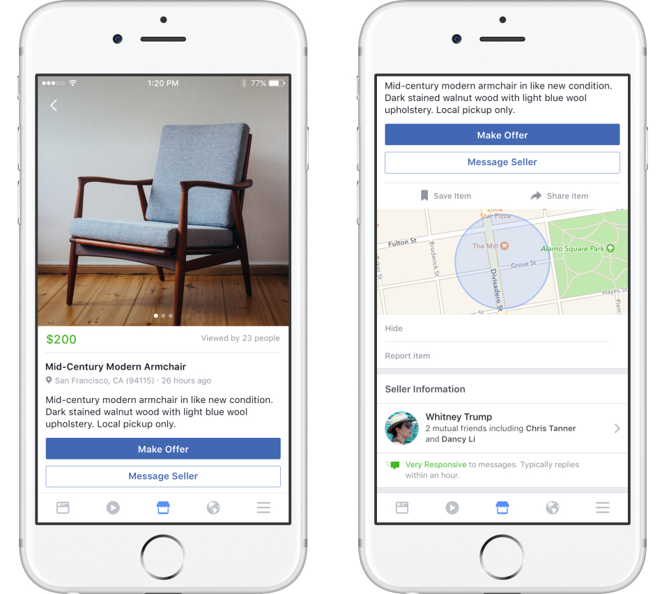 classified ads on the Facebook Marketplace app