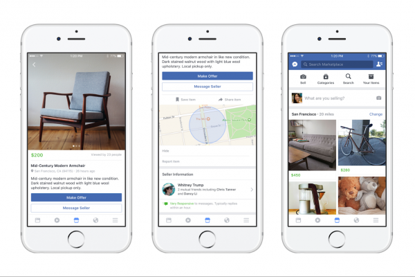 new Facebook Marketplace app for selling goods online