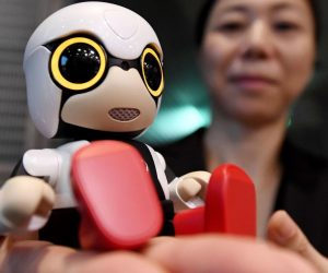 woman talks with a Toyota Kirobo Mini robot companion