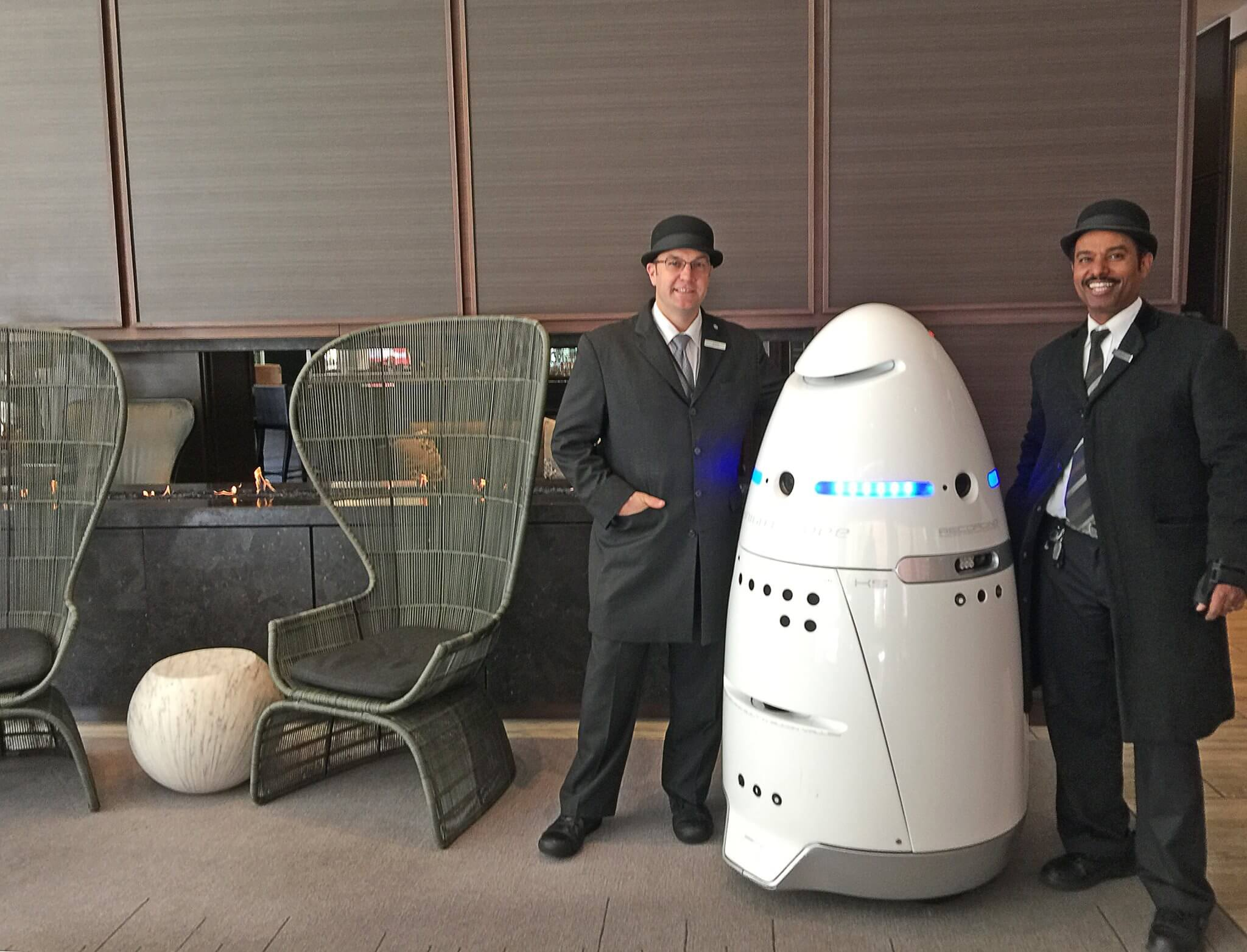 real human security guards with a Knightscope robot
