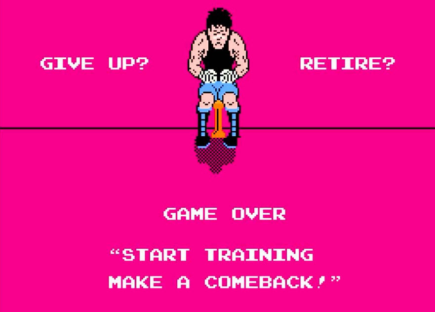 game over screen from Mike Tyson Punchout video game