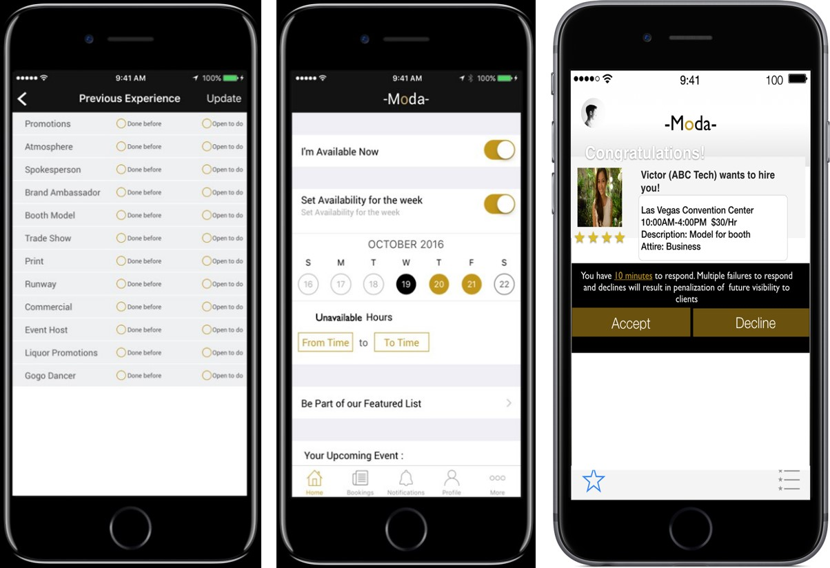 screenshots from hiring models on demand through Moda app