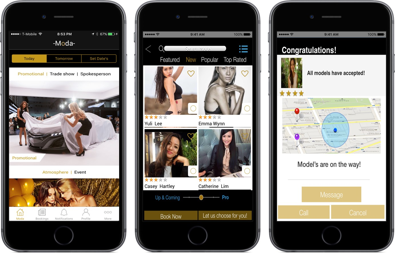 Moda models on demand app