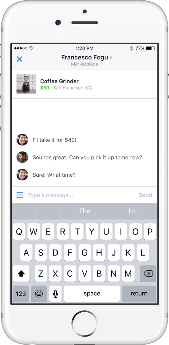 messaging and negotiating-within the Facebook Marketplace app