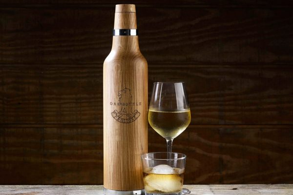 the Oak Bottle aging vessel with wine and whiskey aged in it