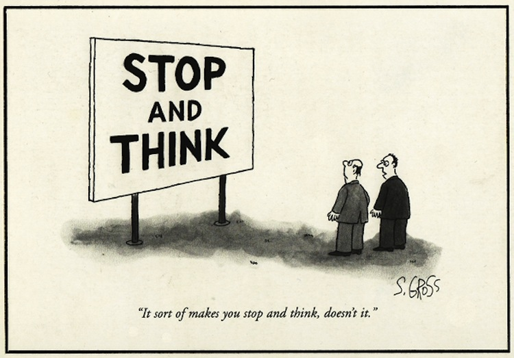 cartoon of sign saying stop and think