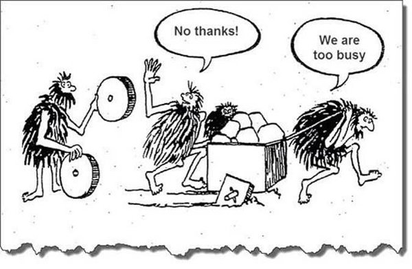 comic about technical debt with cavemen refusing a wheel because they are too busy pushing a cart