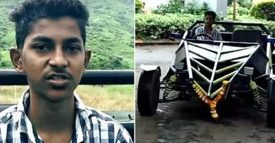 Prem Thakur and car he built by following YouTube instructions