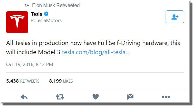 Tesla tweet: All Teslas in production now have full self-driving hardware
