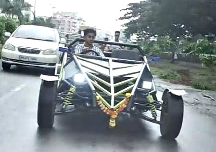 Prem Thakur driving car built from YouTube instructions