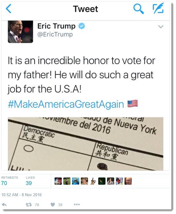 Eric Trump's tweeted ballot