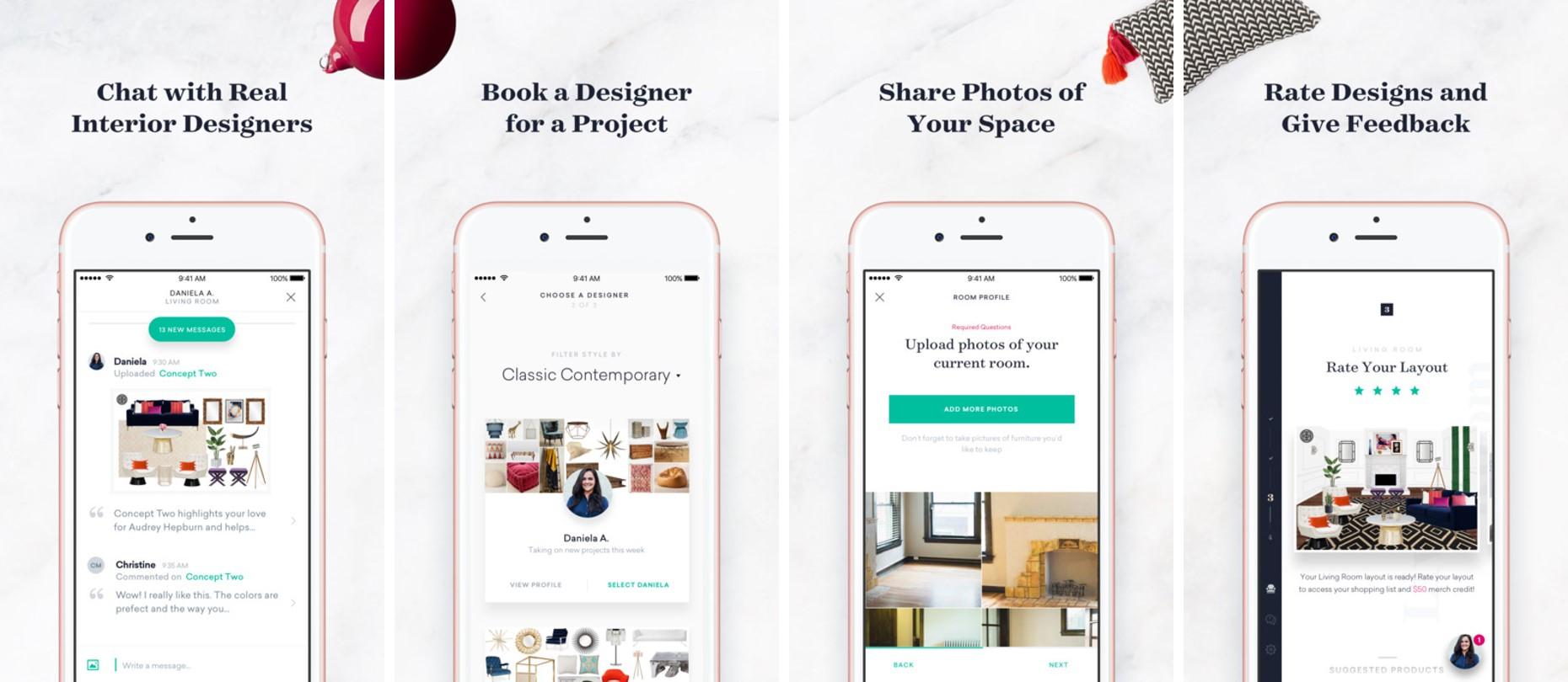 havenly interior design app screenshots
