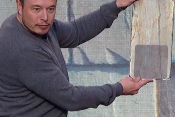 Elon Musk presenting invisible solar panels