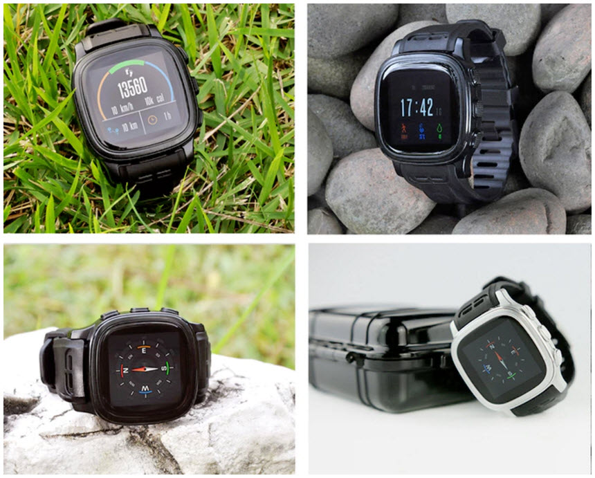 different views of the Starvox walkie talkie smartwatch