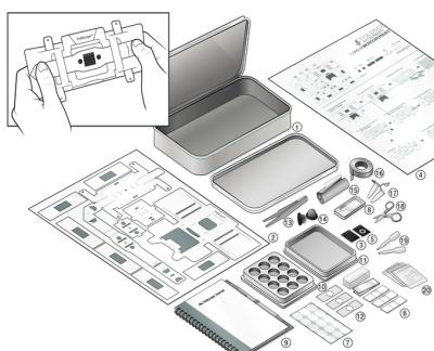 foldscope paper microscope parts in kit