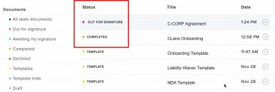 hellosign document status