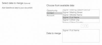 hellosign SFDC integration sales enablement select data to merge