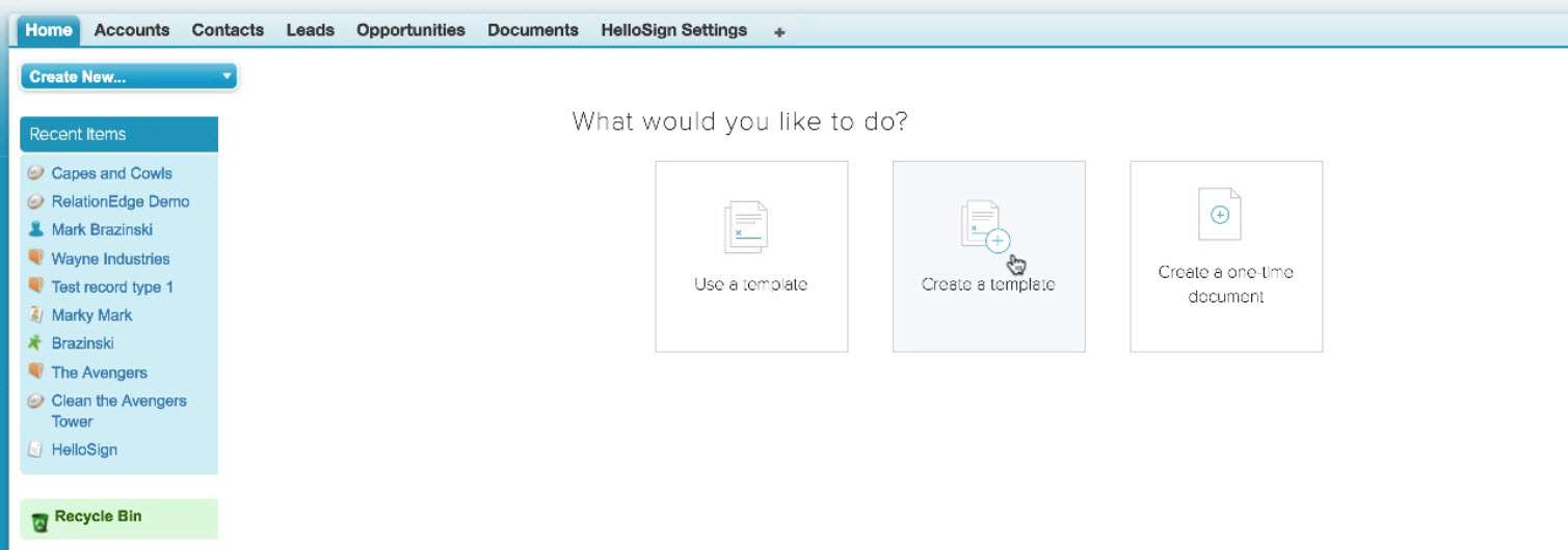 hellosign SFDC integration sales enablement options