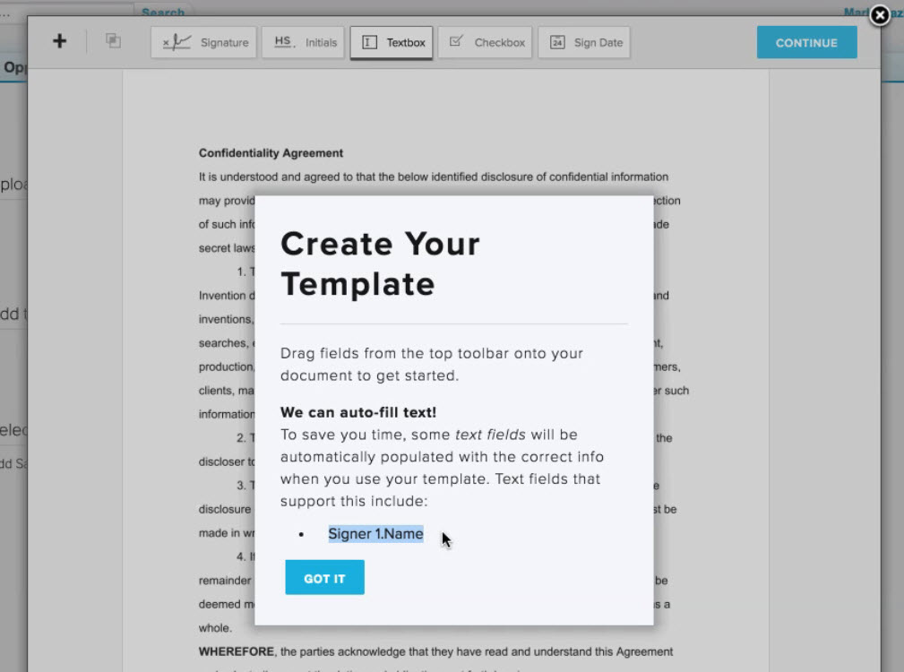 hellosign SFDC integration sales enablement create template