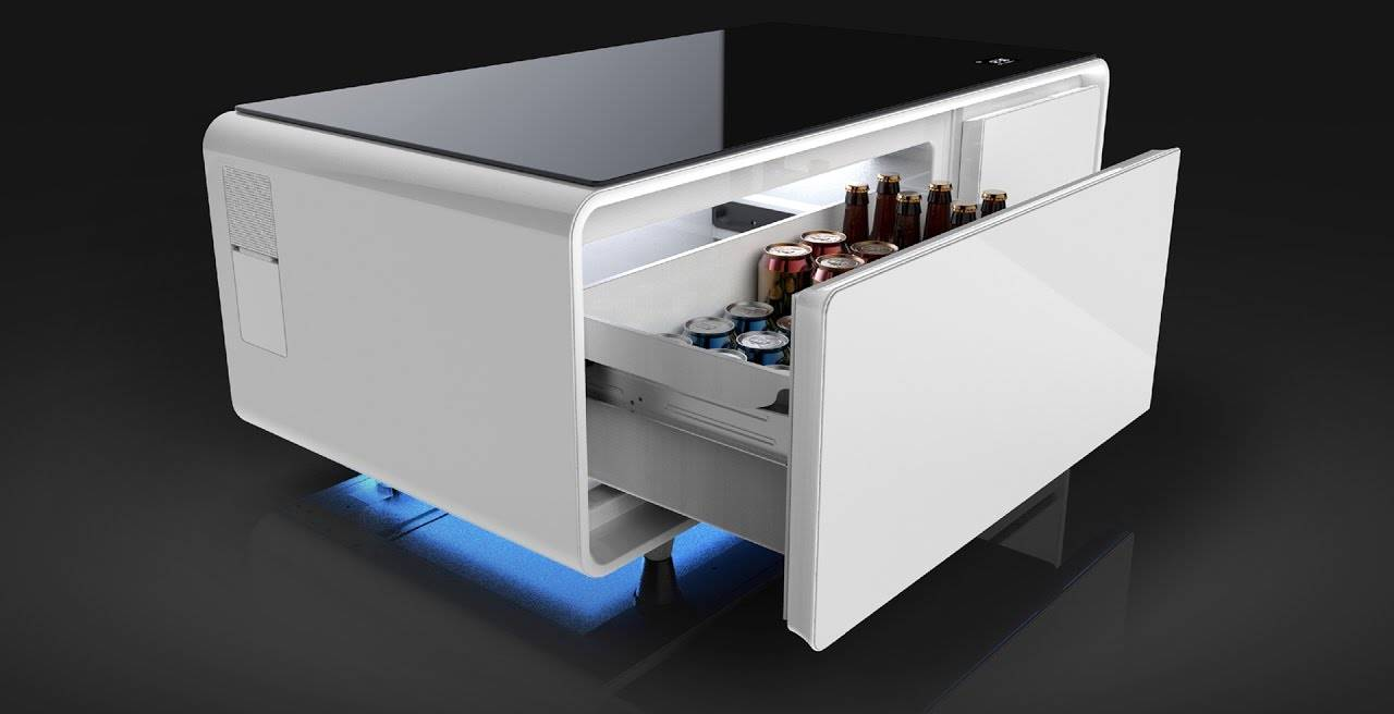 the sobro, a coffee table that is part fridge, part smart
