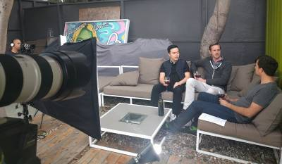 Justin Wu and Hank Leber of Vytmn being interviewed by SnapMunk's Benjamin Mann